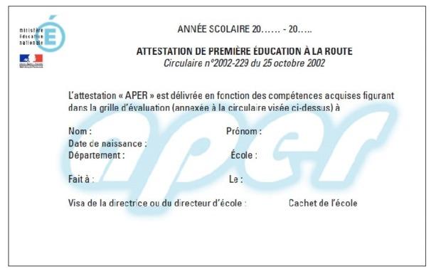 Attestation de Première Education à la Route (APER)