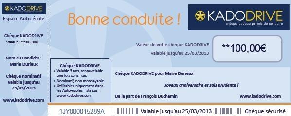 Kadodrive: le chèque cadeau de tous les permis de conduire