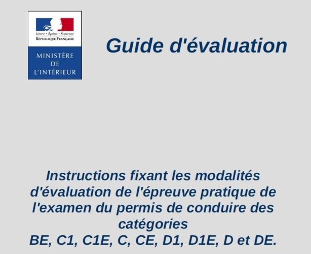 Le guide d'évaluation 2013/2014 des examens pour les permis P.L. et BE