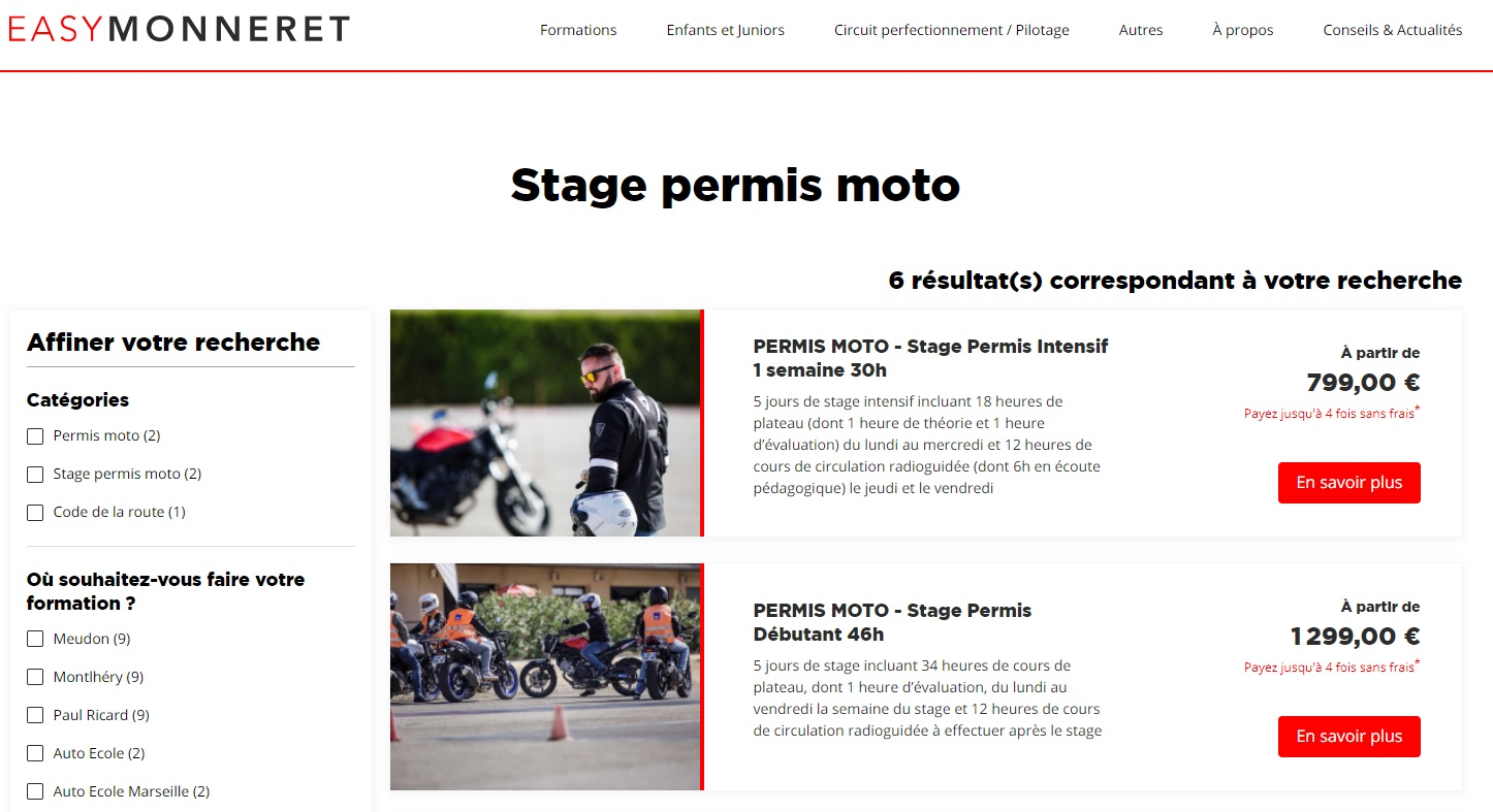 Comparatif: Les stages permis moto en accéléré
