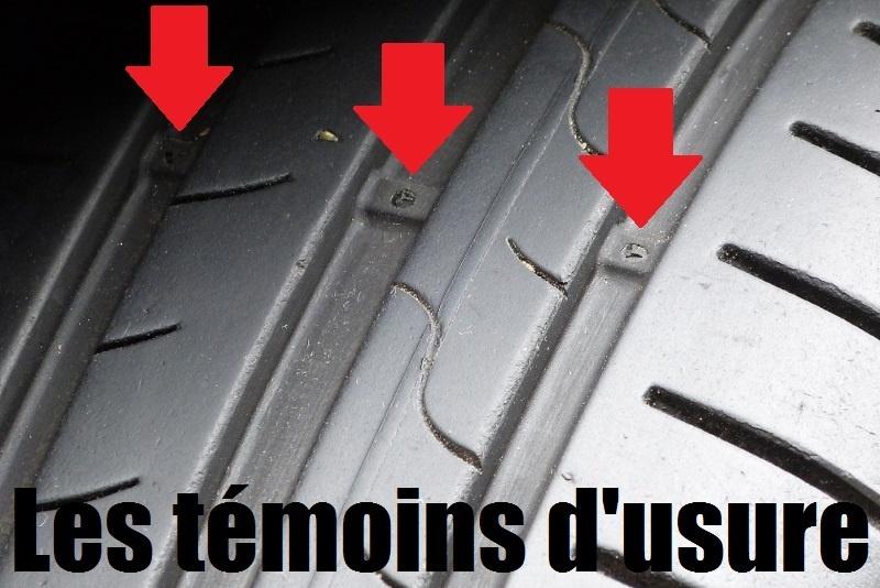 Les témoins d'usure mesurent 1.6 mm et permettent un controle rapide de l'usure d'un pneu. Ici ces témoins ne sont pas affleurants, le pneu est encore bon.