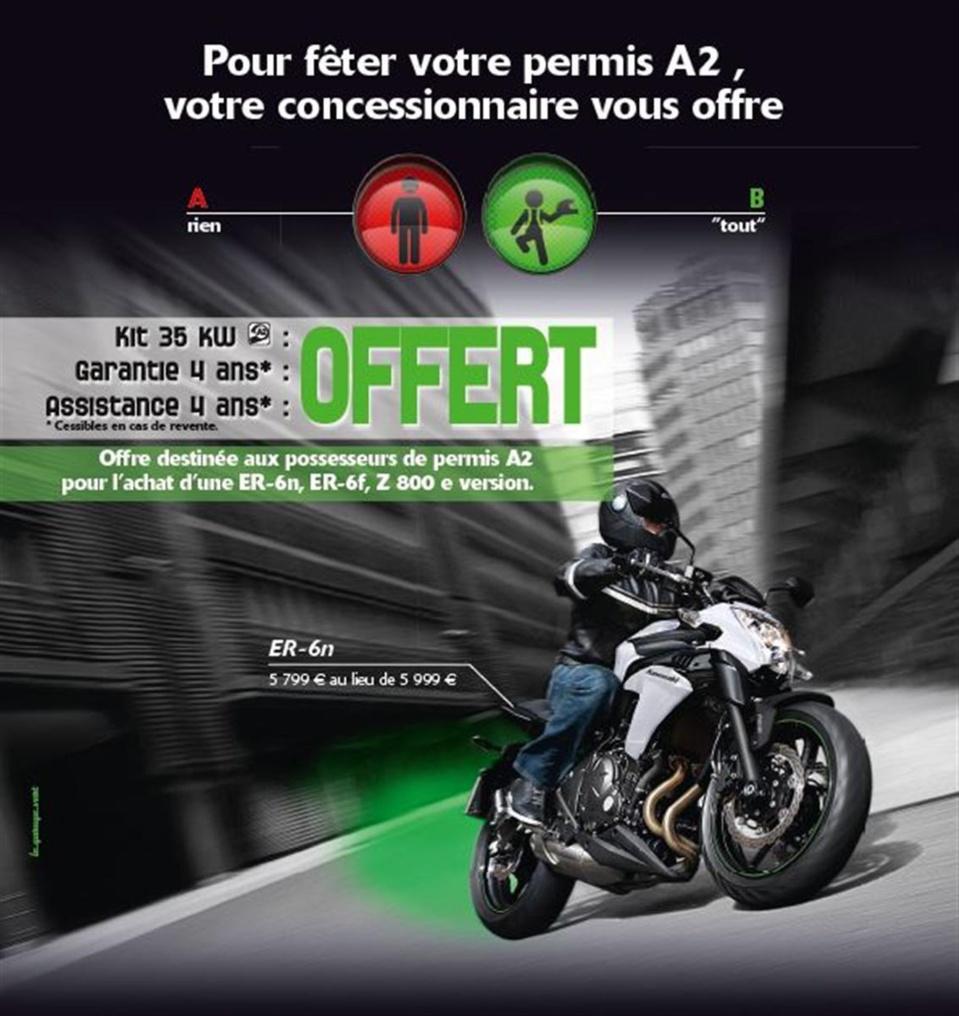 Permis moto A2 : Achetez une Kawasaki ER-6 ou une Z800 et faites le plein d'avantages
